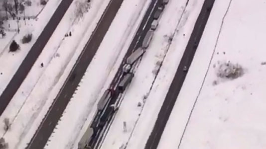 Dozens of cars crash in snowy pileup amid threat of third nor'easter