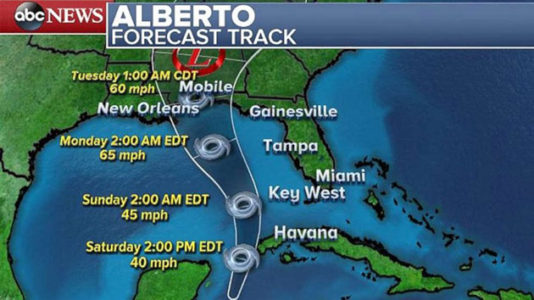 Mississippi, Florida, Alabama declare emergency ahead of storm Alberto