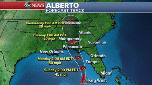 Gulf Coast prepares for Alberto as heavy rain, gusty winds hit Florida
