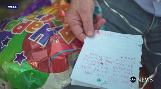 Two Texas girls who sent a balloon to their late father in heaven receive a heartwarming response