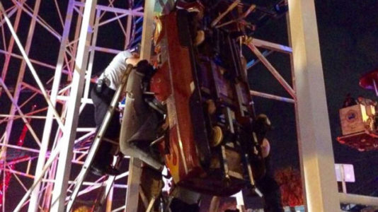 2 people fall 34 feet to the ground after roller coaster derails