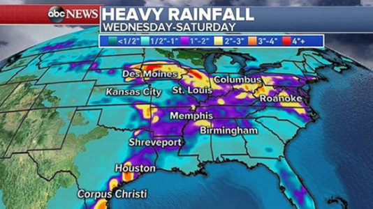 Heavy rain, flooding will continue for Midwest and South