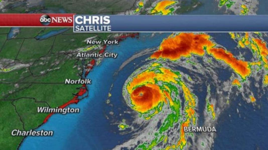 Hurricane Chris strengthens to Category 2; producing rough surf, rip currents