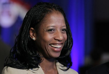Republican congressional candidate Mia Love talks with reporters during the Utah State GOP election night watch party Tuesday, Nov. 6, 2012, in Salt Lake City. (AP Photo/Rick Bowmer)