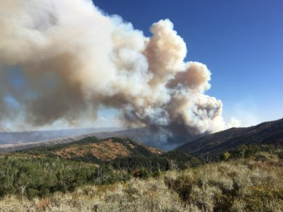 The Latest: Utah wildfire more than doubles in size