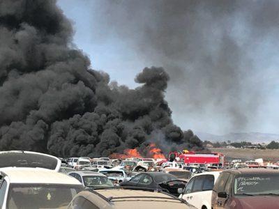Fire burning at salvage yard near Aurora