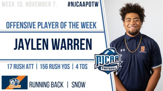 Nation's Leading Rusher Garners NJCAA Player of the Week
