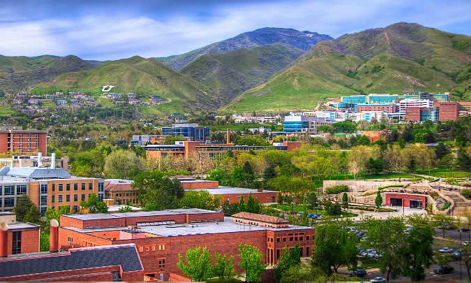 A great view of the University of Utah in Salt Lake City, Utah.